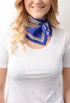 CAPON Square silk scarf, ROYAL BLUE