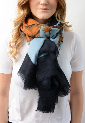 DAUPHINE Scarf with cashmere, RUSSET ORANGE