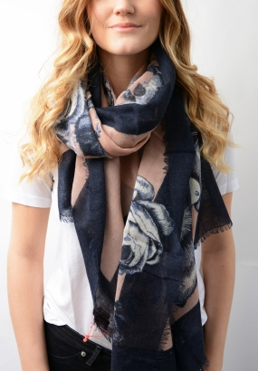 DAUPHINE Scarf with cashmere, PEACOAT