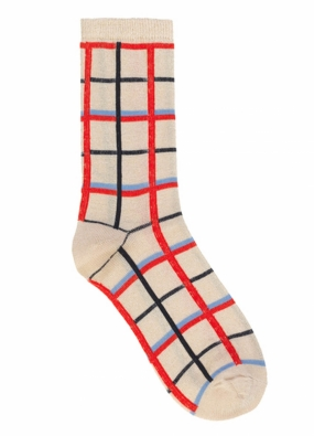 Dean Summer Check Socks, Red Love