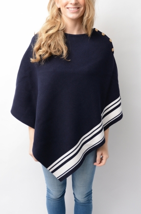 Tara Poncho Marine & Off-White Vertical Stripes