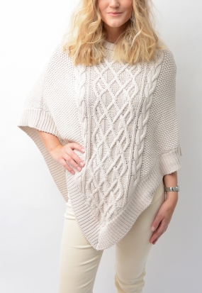 YOKO CABLE PONCHO, LIGHT BEGIE