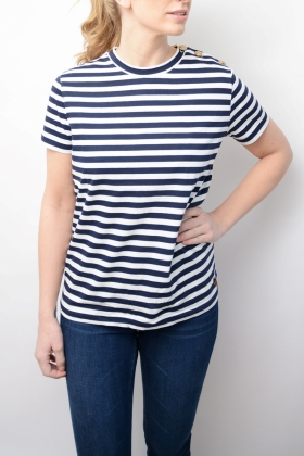 Vegas T-shirt Marine With Offwhite Stripes
