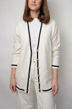 Parmentier Cardigan, Foam White With Black Line