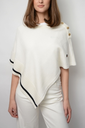 Priziac Poncho, Foam White With Black Line