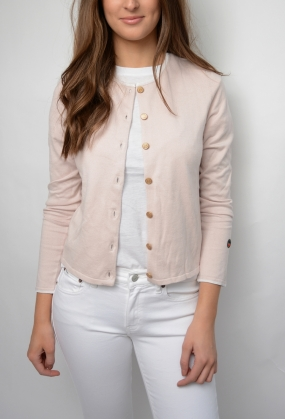 Kee Cardigan, Light Pink With White Line