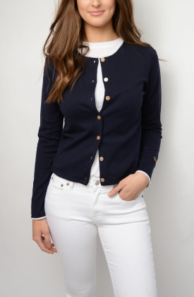 Kee Cardigan, Marine With White Line