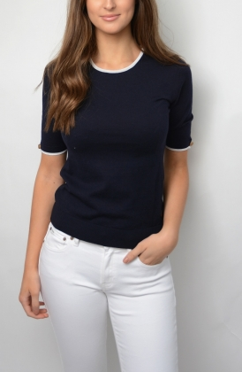 Lucca Top, Marine With White Line