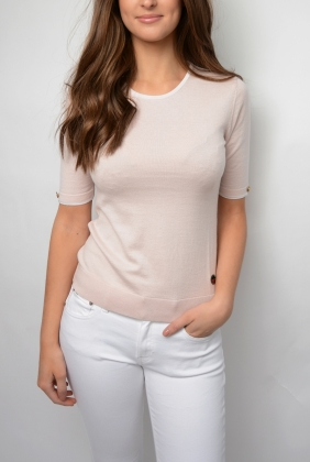 Lucca Top, Light Pink With White Line