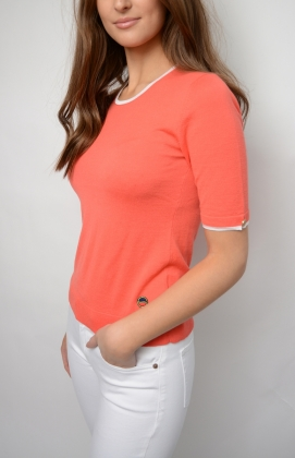 Lucca Top, Light Red With White Line