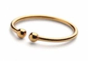 Ring With Two Micro Pearls Gold Plated