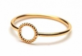 Mini Twisted Open Coin Ring Gold Plated