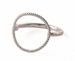 Twisted Open Coin Ring Silver