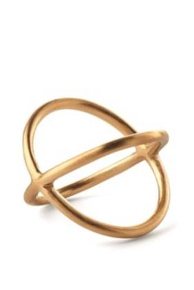 Pernille Corydon. Crossed Ring. Gold Plated