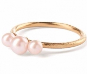 3 Pearls Rose Ring Gold Plated