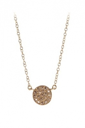 Coin Stone Necklace Gold Plated