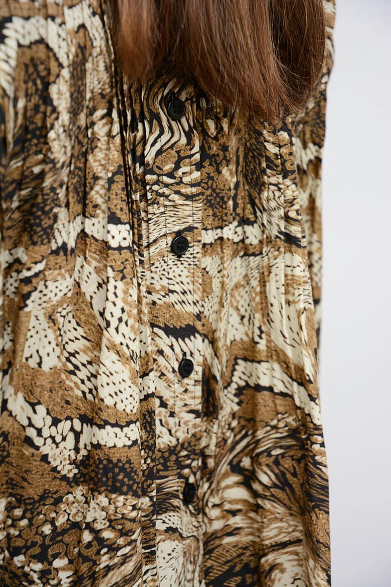 GANNI   Printed Cotton Poplin Mini Dress, Tiger's Eye   Klännin