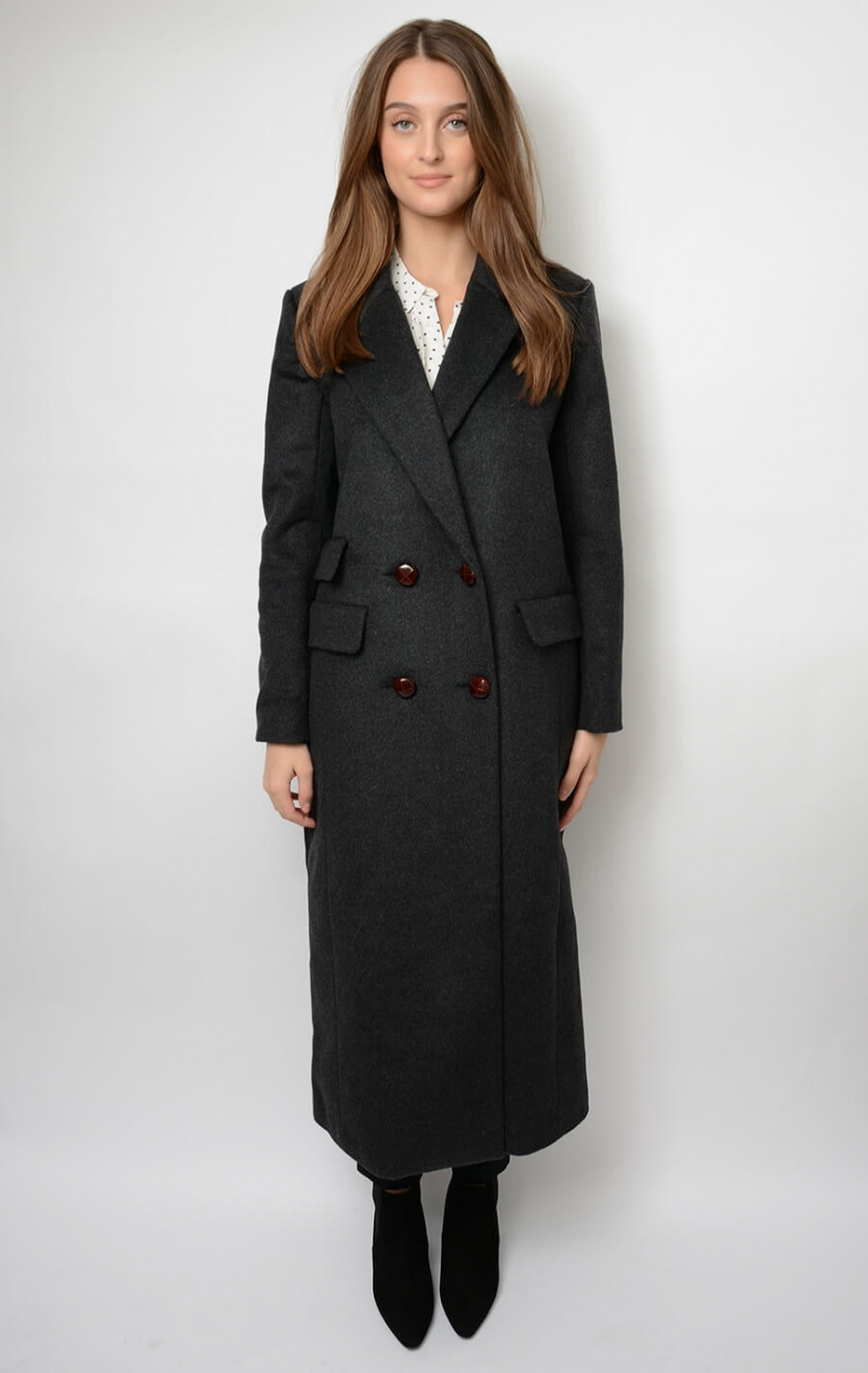 ganni mayer wool coat black melange outdoor jackets blaz