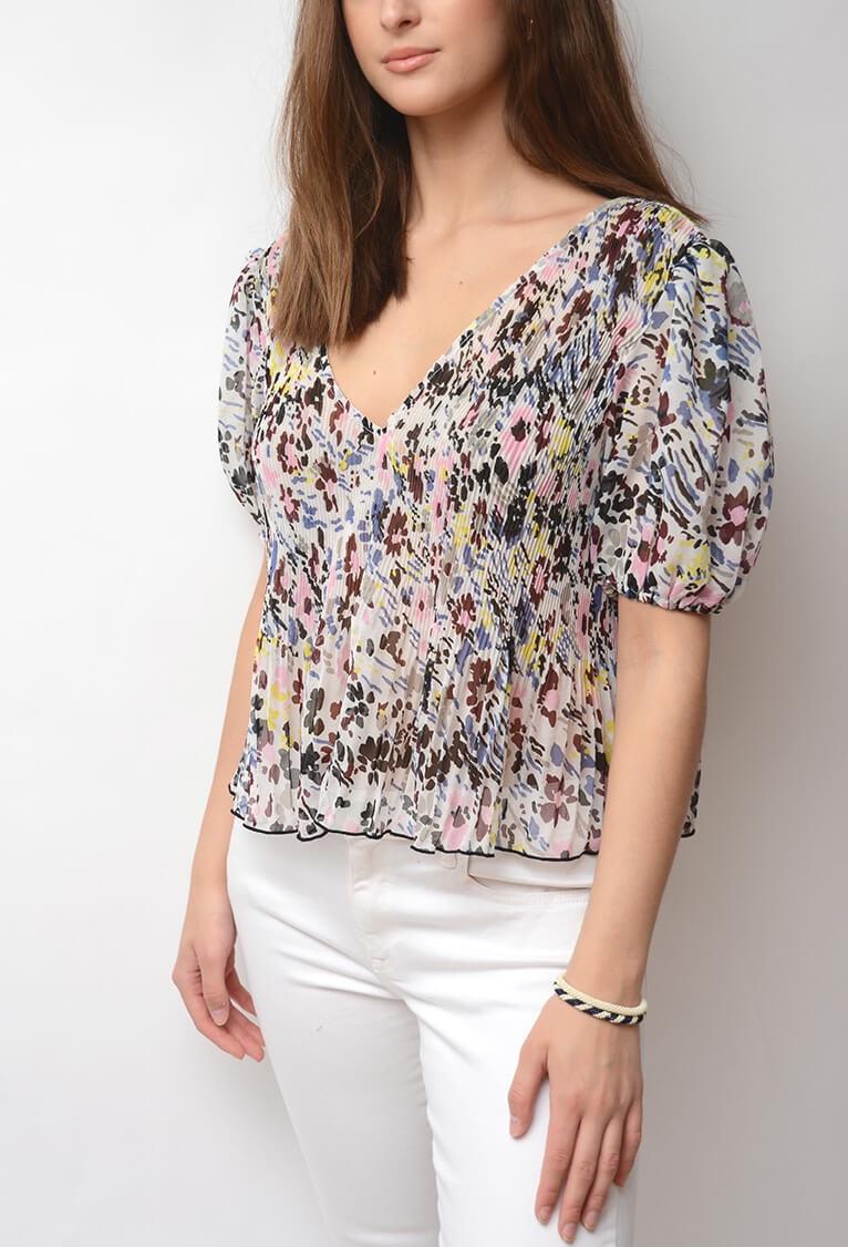 aaa85fb3f28 GANNI   Pleated Georgette Blouse, Egret   Shirts & Blouses - Fo
