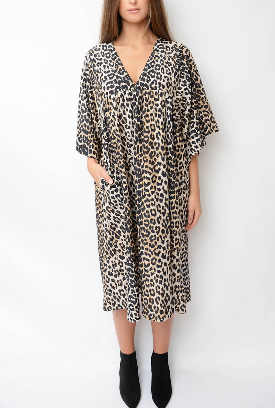20121ec0 GANNI | Cotton Silk Dress, Leopard | Klänningar - Dam | Elin Ma