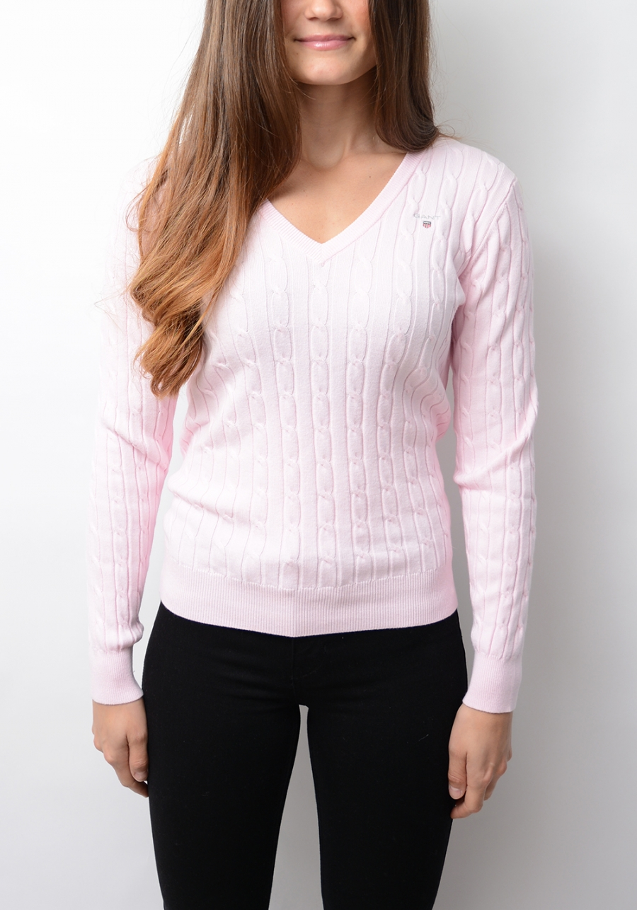 GANT | Stretch Cotton Cable V-neck, Light Pink | Sweaters & car