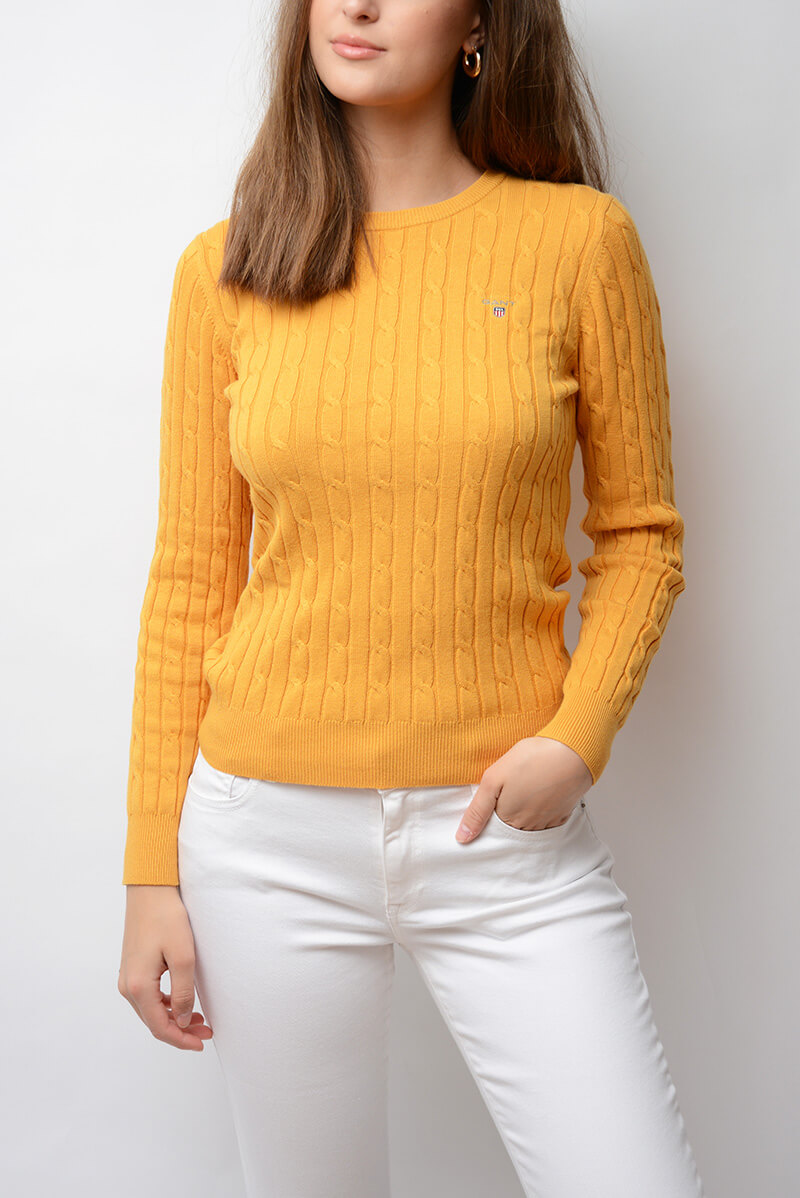 GANT | Stretch Cotton Cable Crew, Honey Gold | Sweaters & cardi