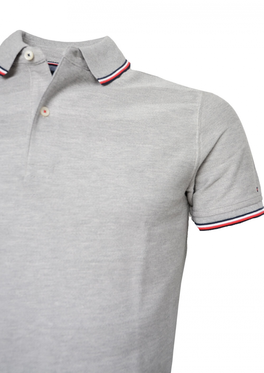 TOMMY HILFIGER HERR | Textured Tipped Twill Slim Polo, Cloud He