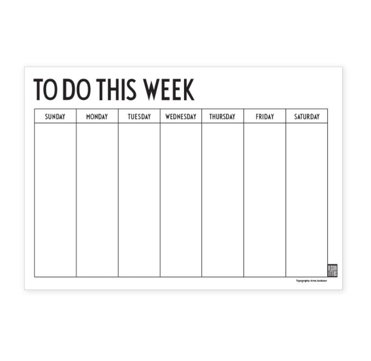 weekly planner black